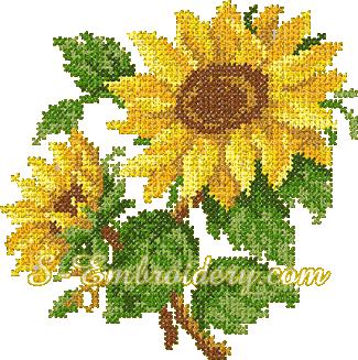 Sunflower cross stitch machine embroidery design - 10069