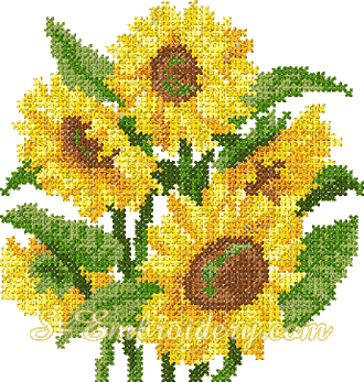 Sunflower cross stitch machine embroidery design - 10070