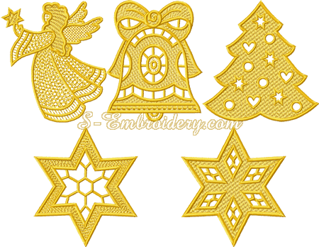 Free standing lace ornaments for Christmas cards