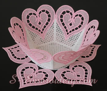 Free standing lace bowl embroidery