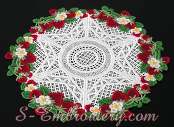 Freestanding lace doily machine embroidery