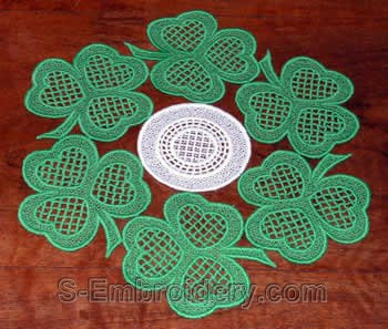 St. Patrick Day shamrock doily