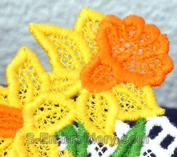 Freestanding lace daffodil closeup