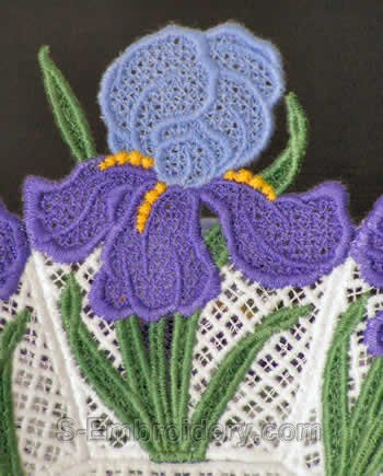 Iris freestanding lace close-up