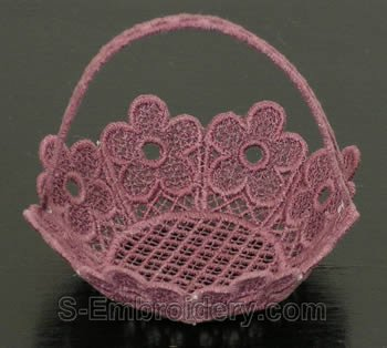 Freestanding lace basket side
