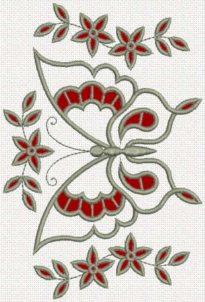 Lace butterfly machine embroidery design