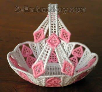 SKU 10267 Freestanding lace mini basket