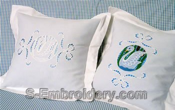 Swan Lace Embroidery Decorated Pillows