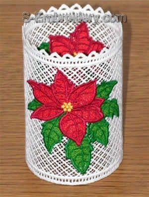 Freestanding Lace Poinsettia Shade