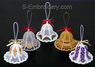 Freestanding Lace 3D Christmas bells set