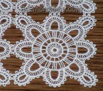 Freestanding lace doily closeup