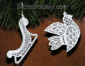 Freestanding lace Christmas tree ornaments