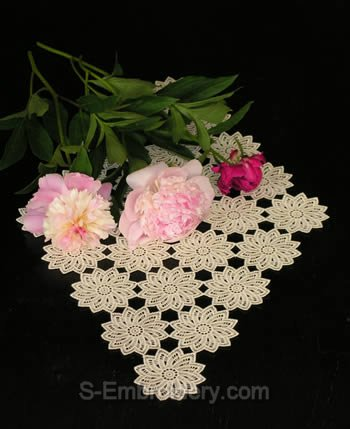 Freestanding Lace Doily with flowers