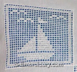 Freestanding lace crochet boat square