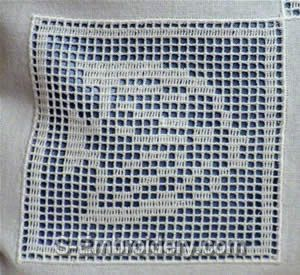 Freestanding lace crochet fish square