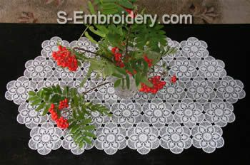 machine SKU design   lace runners table embroidery table crochet Crochet 10377