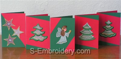Christmas greeting cards organza lace decorations