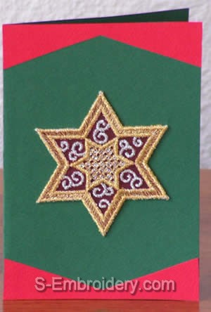 Christmas greeting card with star organza klace ornament