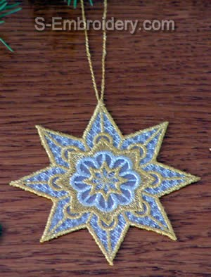 Christmas tree organza lace star ornament