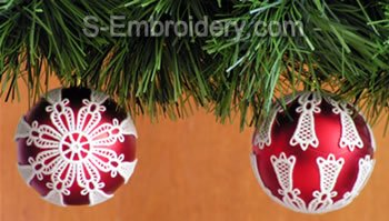 Freestanding lace Christmas Ornament Cover set