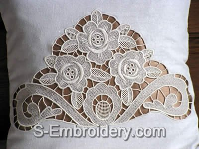 Freestanding lace rose embroidery design