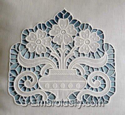 Cutwork lace Flower Vase Machine Embroidery Design