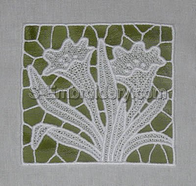 Crocus freestanding lace embroidery