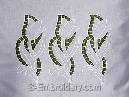 Tulip cutwork lace embroidery