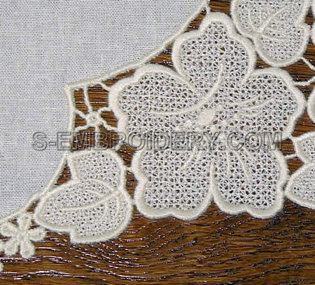 Floral freestanding lace doily - close-up image