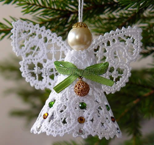 Christmas angel battenburg lace machine embroidery sku10489 for Angel decoration