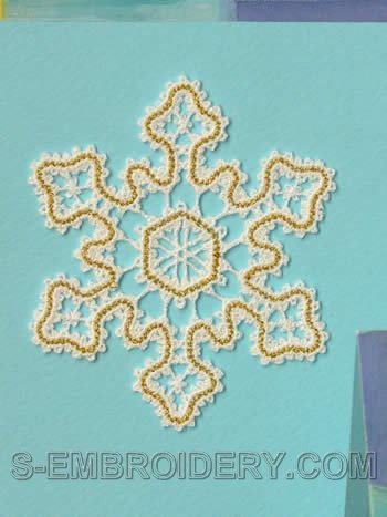 Freestanding Battenberg Lace Snowflake decorated Christmas Greeting card