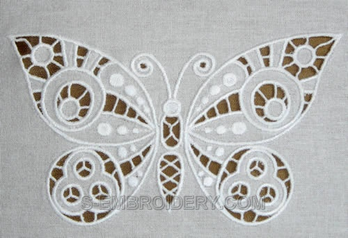 Butterfly cutwork lace machine embroidery - detailed image