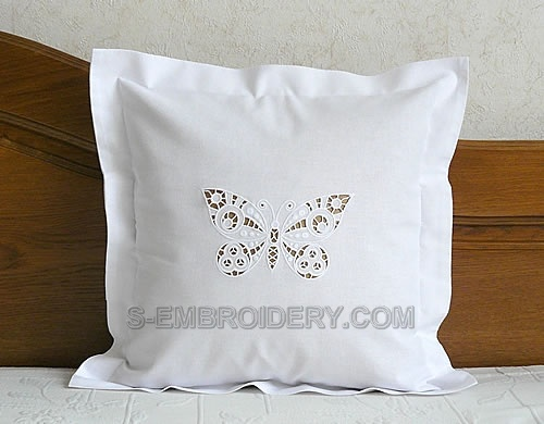 Pillow case with butterfly cutwork lace embroidery