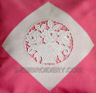 Cutwork lace embroidery flower basket with roses