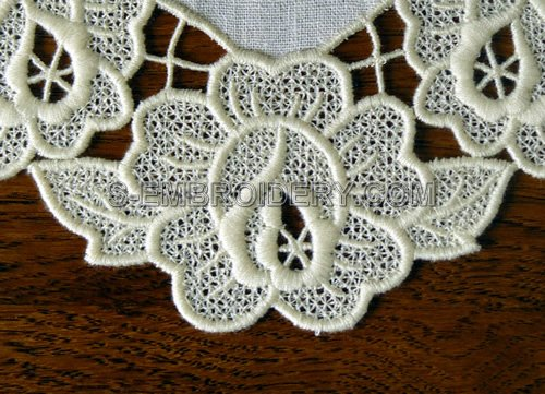 Rose freestanding lace doily embroidery detailed image