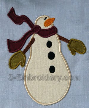 Snowman machine embroidery applique