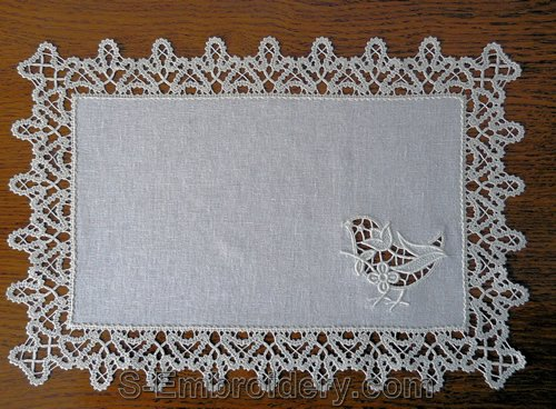 Doily with cutwork lace birdie embroidery and freestanding lace edging