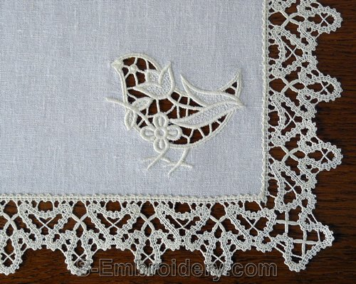 Birdie cutwork lace machine embroidery design