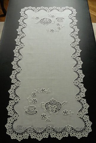 Freestanding lace table runner with teatime embroidery set