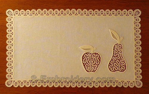 Doily with freestanding lace and cutwork lace embroidery decorations