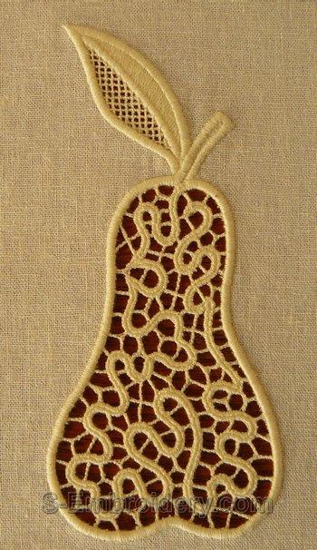 Pear cutwork lace machine embroidery design