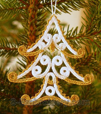 Christmas tree freestanding lace ornament - small