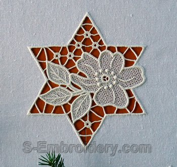 Cutwork lace floral star machine embroidery design