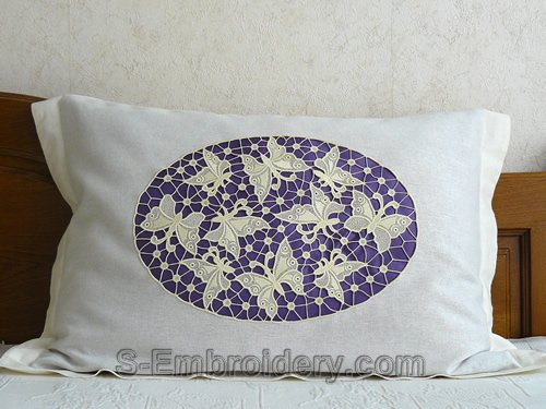 Pillow case with free standing lace butterfly embroidery