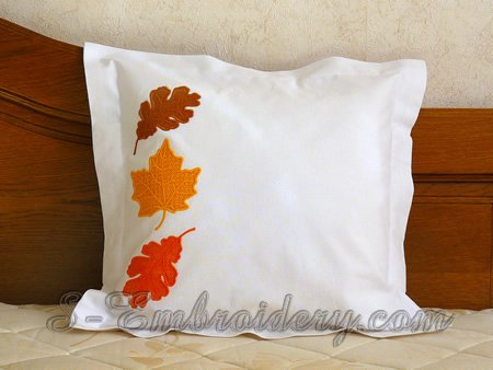 Pillow case with autumn leaf cutwork lace embroidery decoration