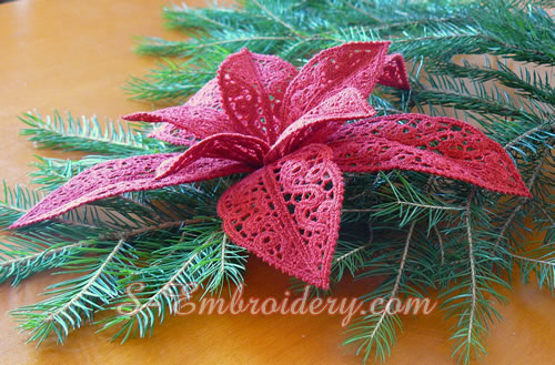 Poinsettia Christmas Machine Embroidery Set Sku 10593