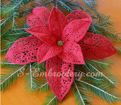 Poinsettia Christmas free standing lace machine embroidery design