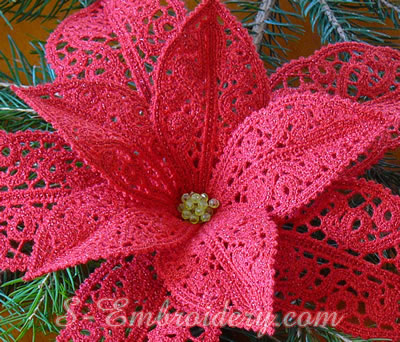 Poinsettia Christmas free standing lace machine embroidery design - close-up