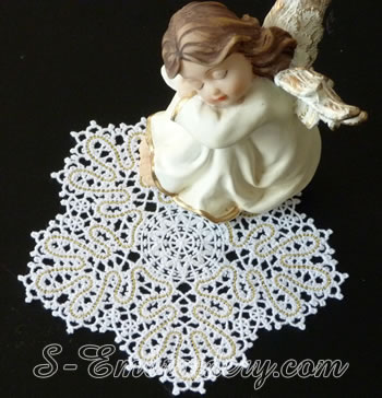 Snowflake Battenberg lace embroidery ornament No1