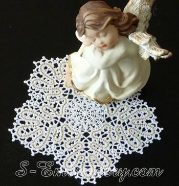 Snowflake Battenberg lace embroidery ornament No1
